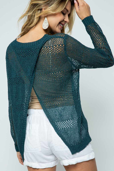 Open Cross Back Knit Sweater 2 Colors
