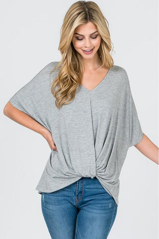 Gray Modal Twist Front Top