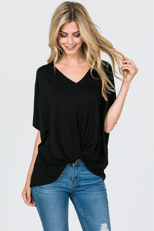 Black Modal Twist Front Top