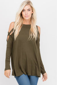 Olive Cold Shoulder Long Sleeve Top