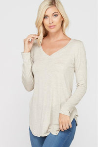 Oatmeal V Neck Long Sleeve Top