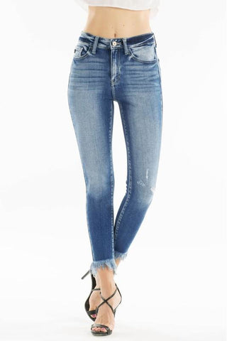 Pamela High Rise Frayed Ankle Skinny