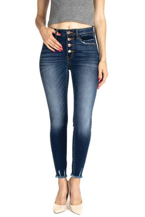 Brianna High Rise Button Fly Ankle Skinny Jeans