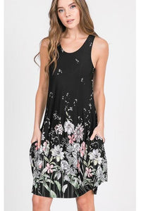 Black Floral Accent Tank Dress