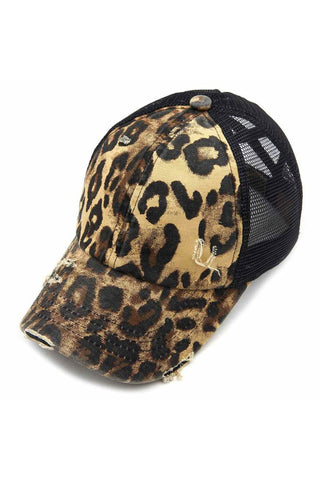 CC Crossed Band Pony Tail Baby Leopard Trucker Hat