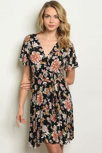 Black Floral Knee Length Dress