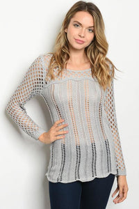 Gray Silver Foil Thread Sweater With