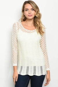 Ivory Silver Foil Thread Sweater With
