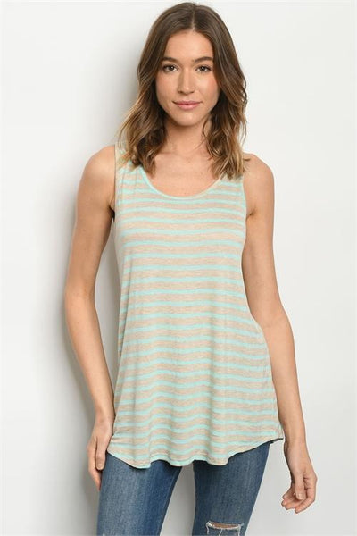 Mint & Tan Striped Tank Top