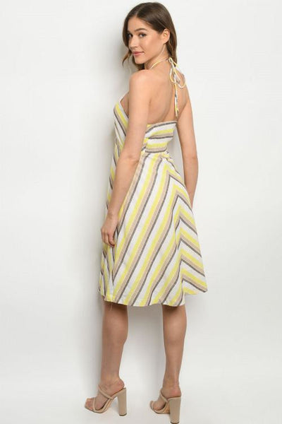 Yellow & Taupe Striped Dress