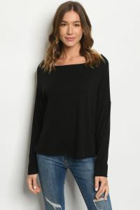 Boat Neck Long Sleeve Top 2 Colors