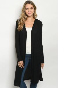 Black Lightweight Thermal Hoodie Cardigan