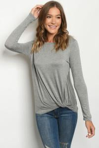 Knot Front Long Sleeve Top 5 Colors