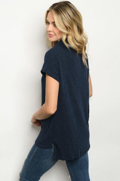Navy Blue Turtle Neck Short Sleeve Top