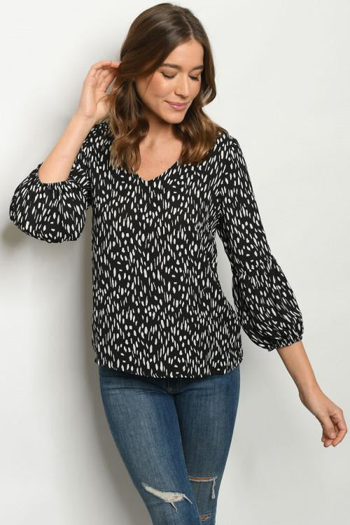Black White Print Blouse