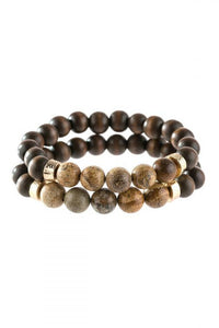Light Brown & Natural Wood Bracelet