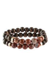 Rust Natural Stone & Wood Bracelet