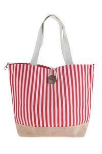 Red & White Striped Tote Bag