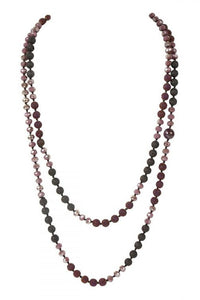 "60"" Amethyst Lava Crystal Natural Stone Necklace"