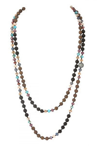 "60"" Multi Color Lava Crystal Natural Stone Necklace"