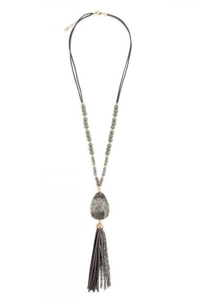 Gray Natural Stone Tassel Necklace