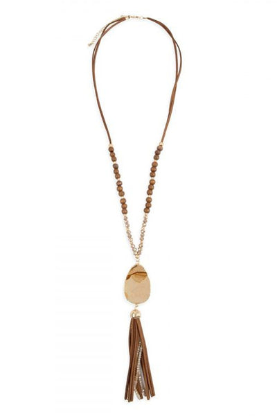 Light Brown Natural Stone Tassel Necklace