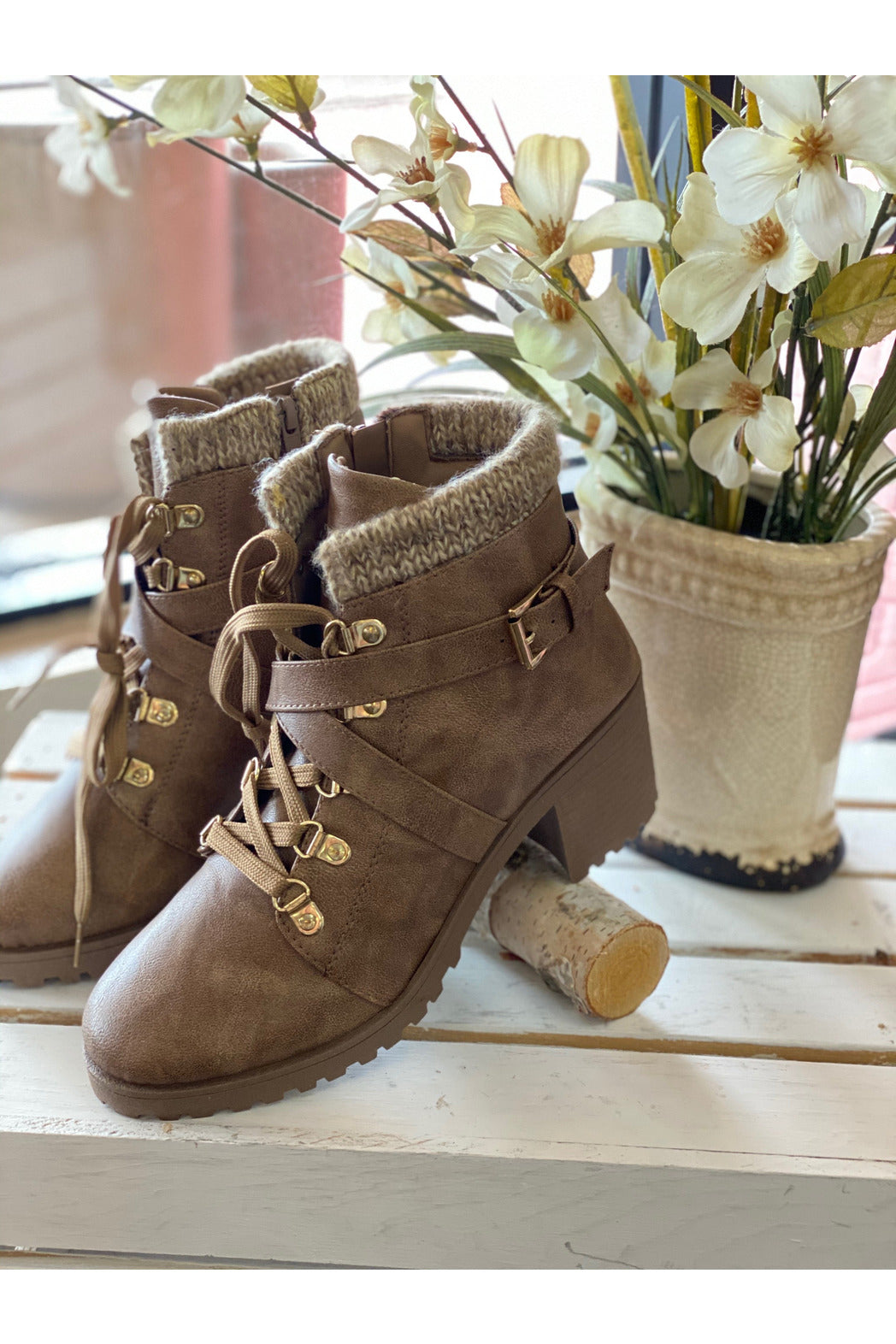 Taupe Combat Boots