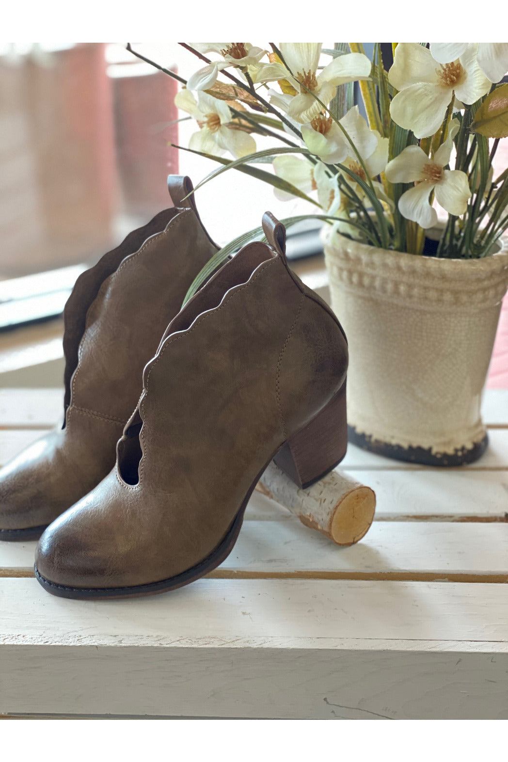 Scalloped Top Taupe Bootie