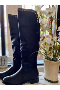 Black Silver Grommet Over The Knee Boot