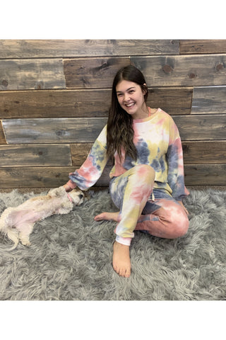 Tie Dye Brushed Terry Lounge Set