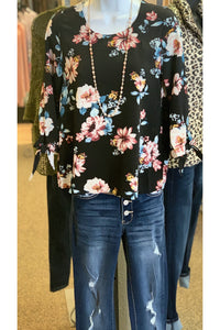 Black Floral Top With Side Ties