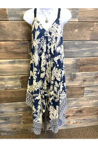 Blue & Cream Tropical Harem Jumpsuit