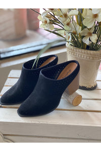 Black Perforated Mule Bootie