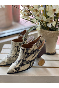 Snake Print Pointed Toe Bootie