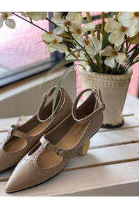 Taupe Ballerina Flat With Gold Studs