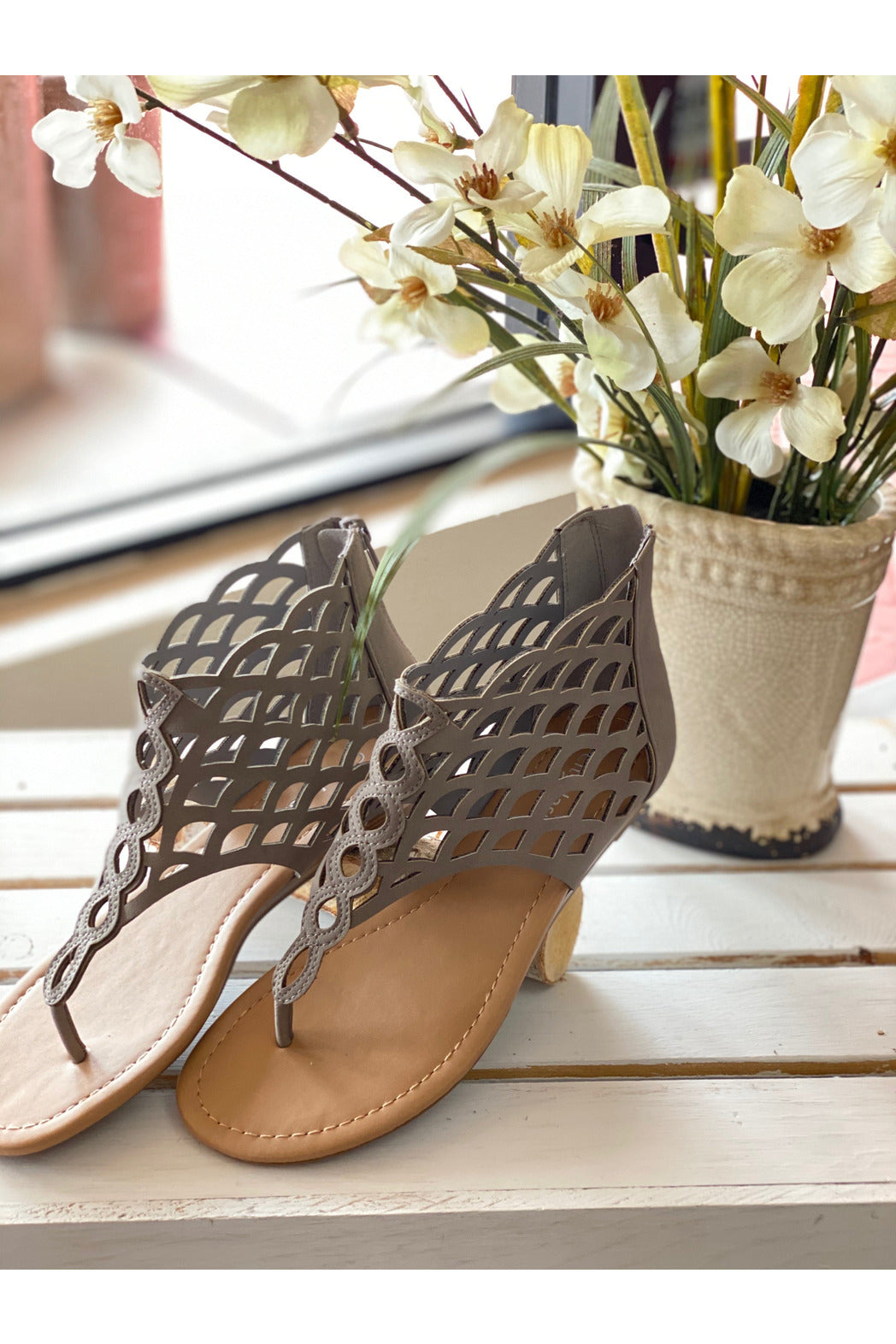 Taupe Cage Sandals