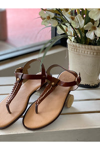 Brown Sandal With Gold Chain Accent