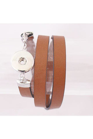 Band Together Brown Leather Wrap Bracelet - Trendz Snap Jewelry