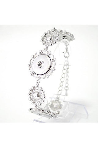 Frills and Flowers Silver Bracelet - Trendz Snap Jewelry