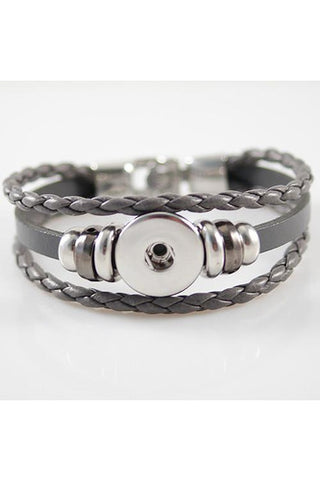 Gracious Gray Leather Wrap Bracelet - Trendz Snap Jewelry