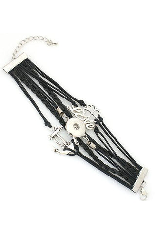 My Anchor and Love Black Wrap Bracelet - Trendz Snap Jewelry
