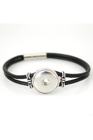 Artsy Black Leather Bracelet - Trendz Snap Jewelry