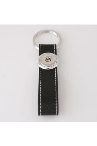 Key to My Heart Black Leather Keychain - Trendz Snap Jewelry