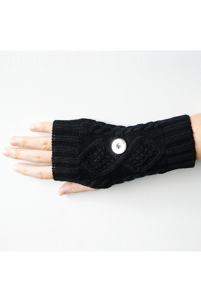 Black Knitted Gloves - Trendz Snap Jewelry