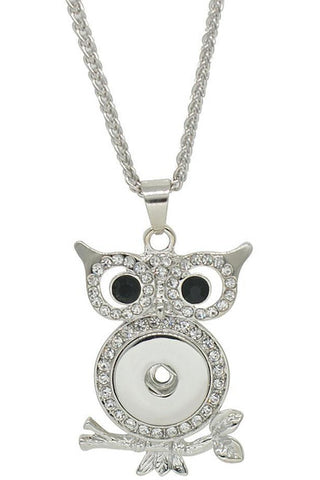 Beautiful in Black Owl Rhinestone Necklace - Trendz Snap Jewelry