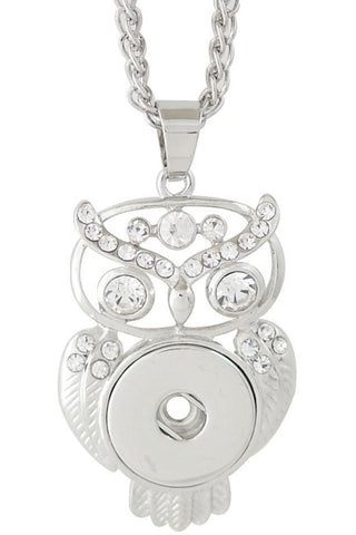 Beautiful Owl Rhinestone Necklace - Trendz Snap Jewelry
