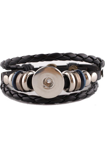 Gracious Black Leather Wrap Bracelet - Trendz Snap Jewelry