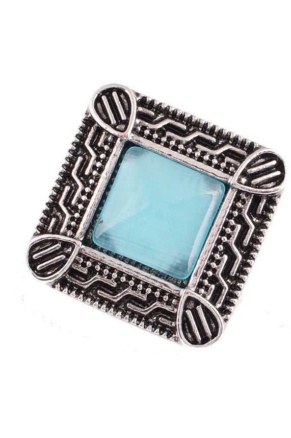 Fair and Square Blue Filigree Snap - Trendz Snap Jewelry
