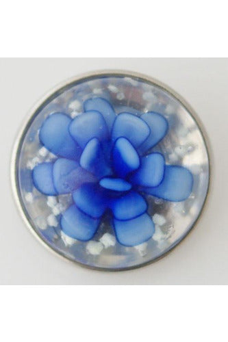 Pretty Frills Flower Blue and Clear Snap - Trendz Snap Jewelry