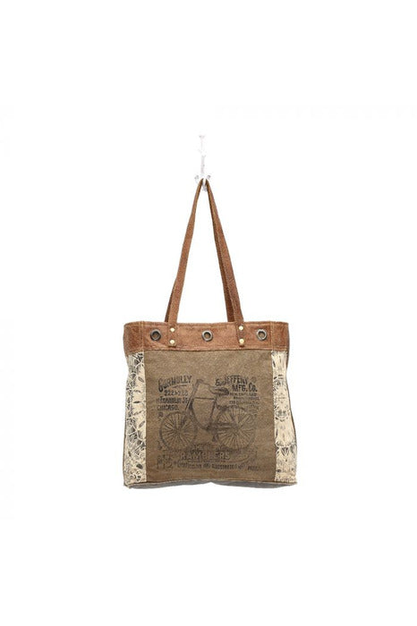 Bicycle Leather Canvas Tote Handbag